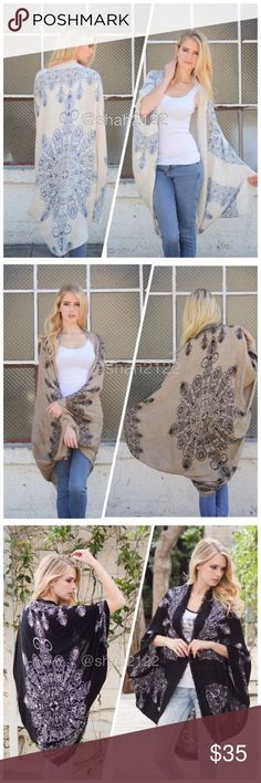 """Oversized Kimono scarf cocoon wrap cover up New ❌    PRICE IS FIRM UNLESS BUNDLED❌new  Retails. Boho kimono scarf Mandala ,Henna print. cocoon cardigan wrap cape. Oversized, relaxed shawl wrap. Lightweight fabric. 100% VISCOSE....Cocoon style  with kimono sleeves.  . ⭐️One size fits most. ⭐️Total length : 45"""" approximately Accessories Scarves & Wraps"""