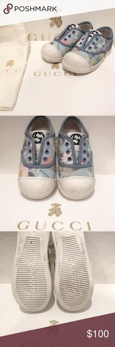 Gucci Toddler Floral Slip Ons These shoes belong to my daughter that she no longer fits into. These super cute Floral Slip Ons are in great condition! It comes with original box, and dust bag. Shoes were purchased at the store for $250+ and are guaranteed to be authentic Gucci Shoes Baby & Walker