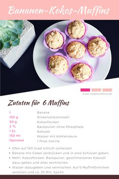 """BAKING WITHOUT SUGAR for children: recipes - healthy & quick"""" - baking-without-sugar-for-children-sugar-free-banana-coconut-muffins-recipe-print.png 800 × p - Easy Drink Recipes, Baby Food Recipes, Healthy Recipes, Quick Recipes, Healthy Cake, Healthy Muffins, Healthy Food Quotes, Coconut Muffins, Banana Coconut"""