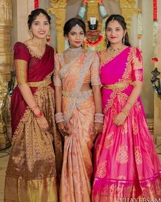 23 Elegant Saree Lehenga Designs For The South Indian Brides! Indian Bridal Sarees, Indian Bridal Wear, Bridal Lehenga Choli, Half Saree Designs, Lehenga Designs, Saree Blouse Designs, Kurta Designs, Indian Gowns Dresses, Indian Outfits