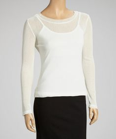Take a look at this White Sheer Boatneck Top by Miss Finch on #zulily today! In all wardrobes their are some pieces you simply have to have a good amount of. One is tops and second white and black ones. This is a real classic look. Can wear dressy or with jeans.