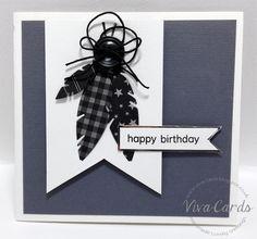 "315 - Handmade Card - ""Happy Birthday'    #Grey, #Feathers, #Button"