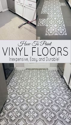 How to paint linoleum flooring tile - an inexpensive flooring idea that transforms with DIY floor paint. Looks great in a laundry room or kitchen floor. kitchen floor How To Paint Linoleum Flooring - The Honeycomb Home Painted Vinyl Floors, Diy Painted Floors, Painted Kitchen Floors, Vinyl Flooring, Inexpensive Flooring, Laundry Room Flooring, Tile Floor, Paint Linoleum, Bathroom Flooring