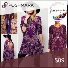 """M❤️FREE PEOPLE TUNIC DRESS Boho Mini  NEW WITH TAGS  Retail: $108 Free People Boho Mini Babydoll Tunic A-Line Dress                                                * Allover floral print & strap back cutout detail * Long sleeves, scoop neck, side seam pockets * Relaxed fit w/a flared hem * Approx 32"""" long   Fabric: 100% cotton Item#FP Color: Plumberry Combo Item# Pastel & vibrant shirt dress smooth talker shift cape sheath No Trades ✅Offers Considered*/Bundle Discounts✅ *Please use the…"""