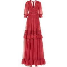 Silk Chiffon A-Line Gown | Moda Operandi ($3,095) ❤ liked on Polyvore featuring dresses, gowns, red a line dress, red evening gowns, red evening dresses, v neck evening gown and red dress