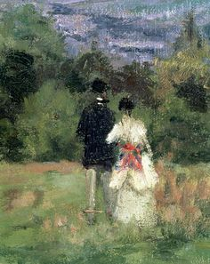 Louveciennes, detail of lovers (19th century)  Camille Pissarro