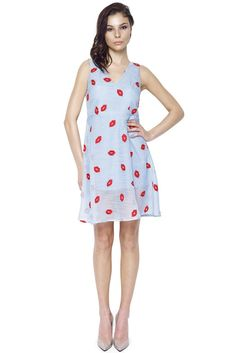 Don't Give Me Lip Dress by Rachel Sin.  All over lip print dress. Wardrobe essentials for the creative professional.