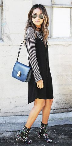 cami dress, striped long-sleeve tee + printed booties