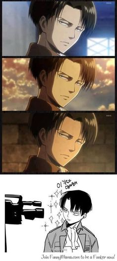 Levi's favorite pose. (Just noticed that when watching episode 19 like wut the fuck do you ever turn your head for those zoom ins.)