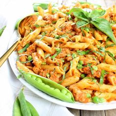 Spicy Chicken Pasta and Peas with Sun-Dried Tomato Sauce | Taste And See