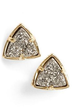 Kendra Scott 'Parker' Stud Earrings available at Gold Iridescent Drusy - not the ones pictured here. Neon Jewelry, Druzy Jewelry, Cute Jewelry, Jewelery, Jewelry Accessories, Fashion Jewelry, Perfect Gift For Boyfriend, Boyfriend Gifts, Triangle Earrings