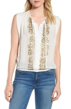 ₩89.5. LUCKY BRAND Top Helena Embellished Top #luckybrand #top #clothing Embellished Top, Lucky Brand Tops, Ruffle Top, Trendy Plus Size, What To Wear, Nordstrom, Clothes, Women, Style