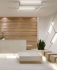 Framework by Manuel Vivian, sleek, clean lines, wood panels, reception area