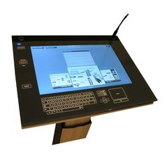 """ILS22M: It is a stylish all-in-one presentation console in versatile 1.5"""" – 3"""" flat box, with 22"""" full HD monitor plus surrounding room and source controls, keyboard and annotation pad, engraved in a 31"""" true multi-touch glass cover.  http://www.intelligentlecterns.com"""