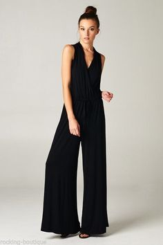 49ae98db8e3 HOT KELLY Romper Effortlessly Chic Sleeveless Jumper Jumpsuit One Piece  Black  M