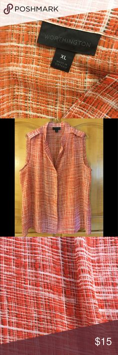 Worthington womens sheer sleeveless button down Worthington womens sheer sleeveless button down blouse/top XL 100% Polyester Machine Wash Worthington Tops Button Down Shirts