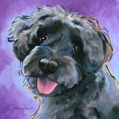Schnoodle dog art.  Representational style commissioned acrylic painting.  Commissions welcome.  See www.karrenmgarces.com