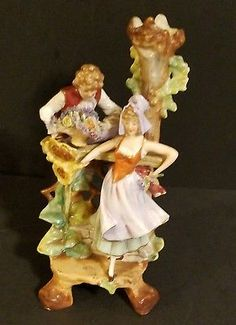 Vintage Hand Painted Figurine Man Woman Courting