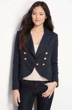 wearing this jersey blazer non-stop. willow & clay double-breasted fishtail blazer.