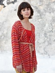 Free Knitting Pattern - Women's Cardigans: Flame Wrap Over Cardigan /Alternate variegated with solid and a solid light color for the narrow row.