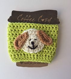 A personal favorite from my Etsy shop https://www.etsy.com/listing/260798594/coffee-cozy-crochet-coffee-cozy-puppy