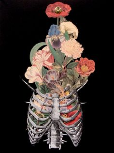 Fucking Stunning! bone bouquet surreal anatomical collage art by bedelgeuse