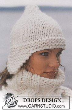 Hat in Eskimo ~ DROPS Design Free Pattern. Knitted flat.