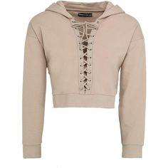 Cropped Lace-Up Hoodie Beige (925 UYU) ❤ liked on Polyvore featuring tops, hoodies, hoodie crop top, sweatshirt hoodies, oversized hoodie, crop top and pink hoodies