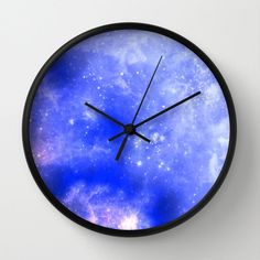 """galaxy Clock, Modern Wall Clock, Modern Clock, The Modern Clock, Black and white clock, space clock, modern wall clock by STANLEYprintHOUSE  47.00 USD  Available in natural wood, black or white frames, our 10"""" diameter unique Wall Clocks feature a high-impact plexiglass crystal face and a backside hook for easy hanging. Choose black or white hands to match your wall clock frame and art design choice. Clock sits 1.75"""" deep and requi ..  https://www.etsy.com/ca/listing/259117065/gala.."""