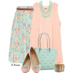 """""""Mint and Peach"""" by bbroxton on Polyvore"""