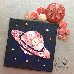 Saturn and Stars Button Art - Pink Geeky Room Decor - Small Wall Art - - Planets and Stars Decor - Geeky Gift - Pink Nursery Decor Button Art, Button Crafts, Plastik Recycling, Zoe S, Planet Project, Star Buttons, Button Picture, Star Decorations, Small Art