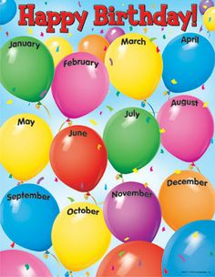 Trend Enterprises Happy Birthday Learning Chart A festive Balloon theme with twelve months to celebrate birthdays in the classroom. Back of chart features reproducible activities, subject information, and helpful tips. x classroom size. Birthday Chart Classroom, Birthday Bulletin, Birthday Wall, Birthday Charts, Birthday Balloons, Birthday Month, Birthday Display Board, Birthday Calendar Board, Birthday Clown