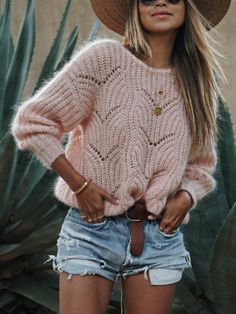 Simplee Elagant wave hollow out pink knitted women sweater Plus size long sleeve pullover Casual solid streetwear femme jumper Casual Sweaters, Winter Sweaters, Sweaters For Women, Cozy Sweaters, Rosa Pullover, Winter Stil, Color Block Sweater, Long Sleeve Sweater, Ideias Fashion