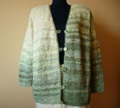 One of a kind Hand Knit Women's Cardigan in White and Sage green/ Handmade Cardigan/ Sage green Jump