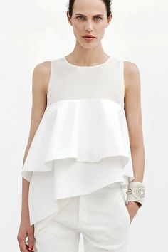 LUCLUC White Triple Layered Frilled Cami