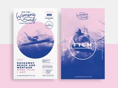 Event Branding Design:The New York Women's Surf Film Festival, a project of Lava Girl Surf, celebrates the filmmakers and female wave riders who live to surf, highlighting their sense of adventure, connection to the ocean and love for their own communiti… Poster Sport, Poster Cars, Poster Retro, Event Posters, Event Poster Design, Poster Designs, Film Posters, Event Design, Graphic Design Trends