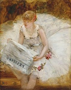 Ballerina reading Le Figaro, c.1885  by Henri Gervex born December 10, 1852 in Paris, France died June 7, 1929 (76) in Paris, France