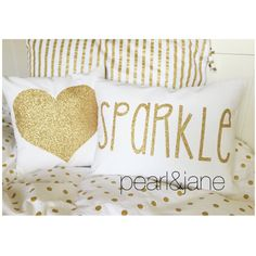 Decorative Heart Throw Pillow Cover Gold or Silver Glitter Heart on... ($22) ❤…