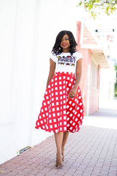 Chicwish midi skirt, ankara tee, Christian Louboutin pumps, jadore-Fashion.com
