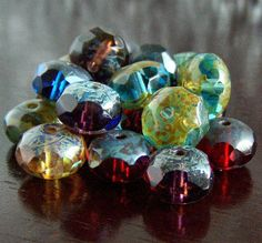 Picasso Mix Czech Glass Bead 9x6mm Gemstone Cut by BobbiThisnThat, $2.50