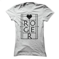 Roger. Tennis fan tshirt. Sideline style for fans of any sport. Black and white tennis shirt.