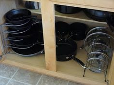 Cabinet Organization - Pots & Pans All this for $25 at Target? Must have for my tiny kitchen!!!