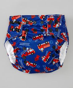 This Lotus Bumz Blue & Red Fire Truck Pocket Diaper by Lotus Bumz is perfect! #zulilyfinds @kbryant32