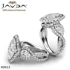 Three Stone Cross Shank Marquise Diamond Engagement Ring 14k White Gold.