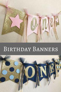 Pink/Blue & Gold High Chair Banner, ONE High Chair Banner, First Birthday Banner, Name High Chair Banner, First Birthday Decorations #etsy #ad