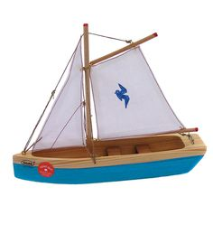 Spruce Wood Toy Boats -blue sloop boat www.magiccabin.com $29