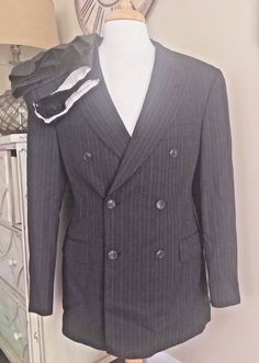 STAFFORD England Double Breasted Suit Men's 40R - 32 x 29 Striped Peak Lapel EUC #Stafford #DoubleBreasted