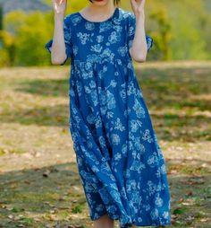 Women midi Dresses, summer Loose fitting dress, Linen dress for women, Prom dress Autumn Clothes, Linen Dresses, Lovely Dresses, Summer Dresses For Women, 3 D, Dresser, Pants For Women, Printed Shoes, Color Blue