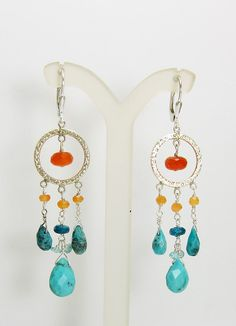 Turquoise and Gemstone Sterling Silver Chandelier by alexawebb, $54.00