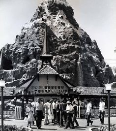 The Matterhorn didn't have as much snow back in the day - (nor the lines) - must be a publicity photo.